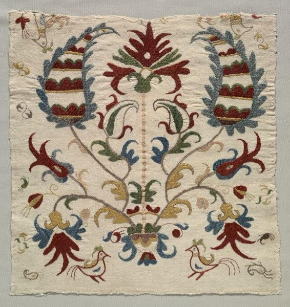 Fragment of Pillow Cover or Panel of Bedspread, 1800s Greece, Sporades Islands, Skyros, 19th century  embroidery: silk on linen tabby gro...