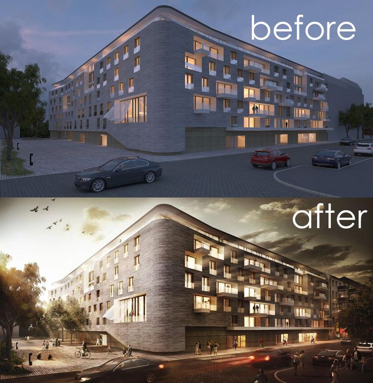 Architectural Visualisation Post Production – before & after