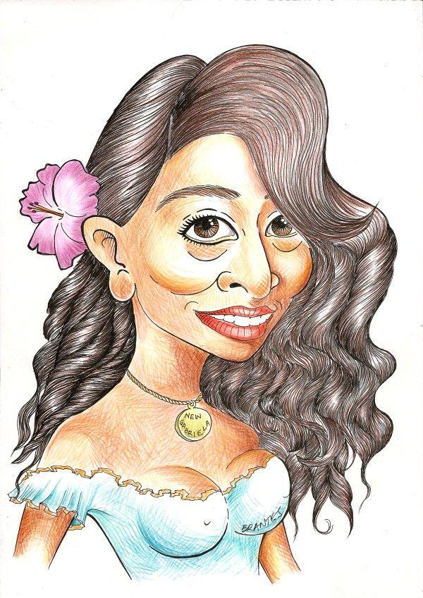 Caricatura : Juliana Paes (Gabriela). Lápis de cor e caneta nanquim.