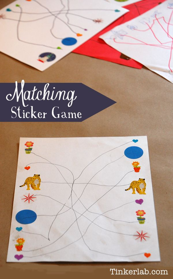 Make a stack of these Matching Sticker Games for a summer trip or the waiting room    from Tinkerlab