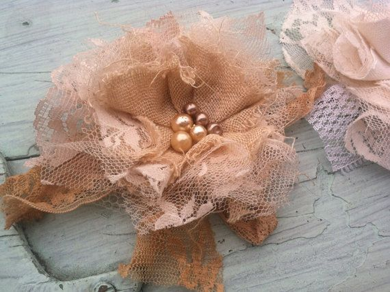 Set of 3 Custom Made Rustic Fabric Flowers by RhysandRaesCreations, $23.00