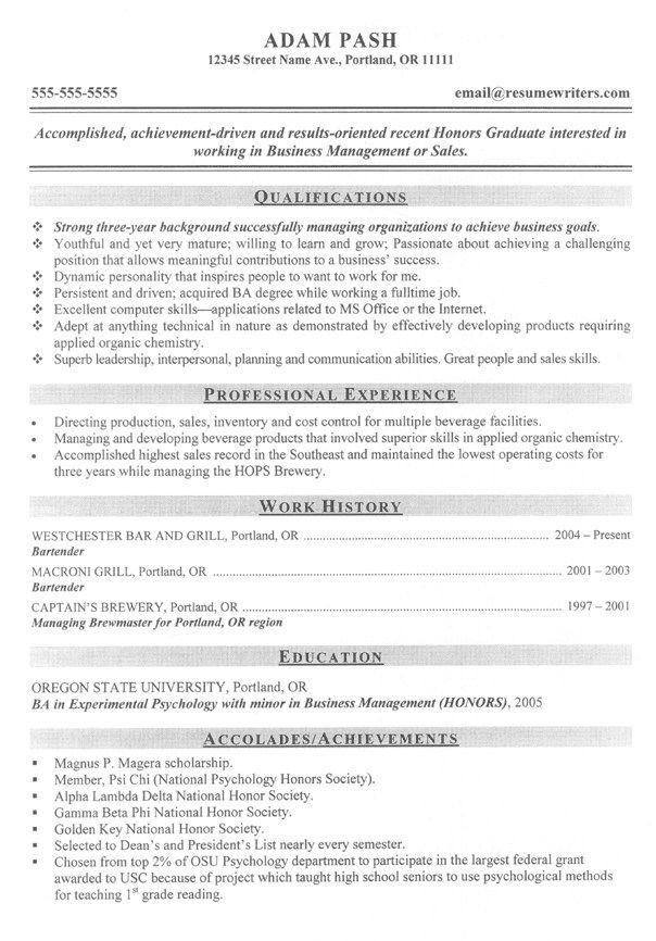 Graduate School And Post Graduate Resume Examples