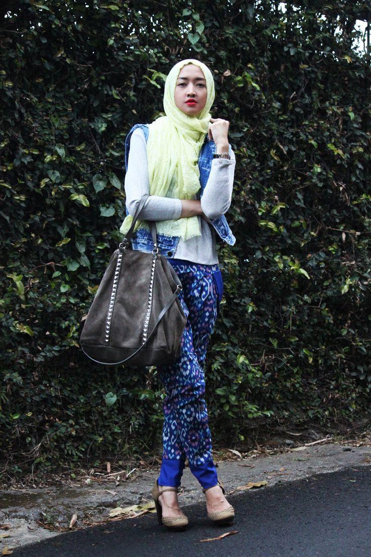 shawl, glitter top, denim vest, songket pants, hiheels, bag