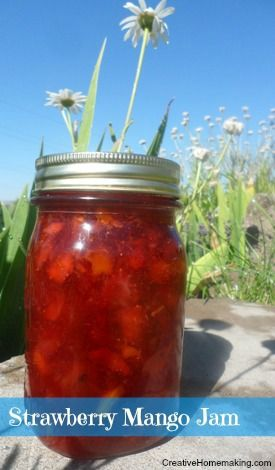 Strawberry mango jam. It looks so pretty in the jar!
