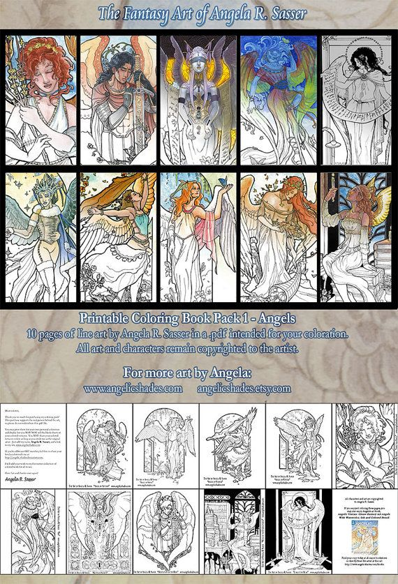 Printable Coloring Book Pack 1  Fantasy Art by angelicshades, $3.00  This listing is for 10 pages of print-ready line art by artist, Angela R. Sasser, in a .pdf intended for your coloration. All art and characters remain copyrighted to the artist.  Have fun and let the colors flow!