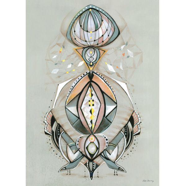 Plakat med et fantastisk fuglemotiv på grå bakgrunn, størrelse: 50x70/A4. Sofie Børsting skaper grafiske illustrasjoner fulle av geometriske former, mønstre og allver