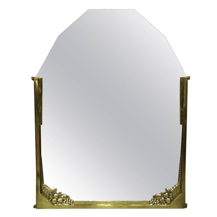 French Art Deco Brass Fruit-Decorated Mirror | 1stdibs.com
