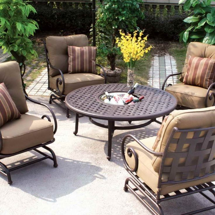 Darlee Malibu 5 Piece Cast Aluminum Patio Conversation Seating Set   Chat  Table With Ice Bucket Insert : Ultimate Patio