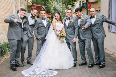 Groomsmen rented their suits from the tux shop.