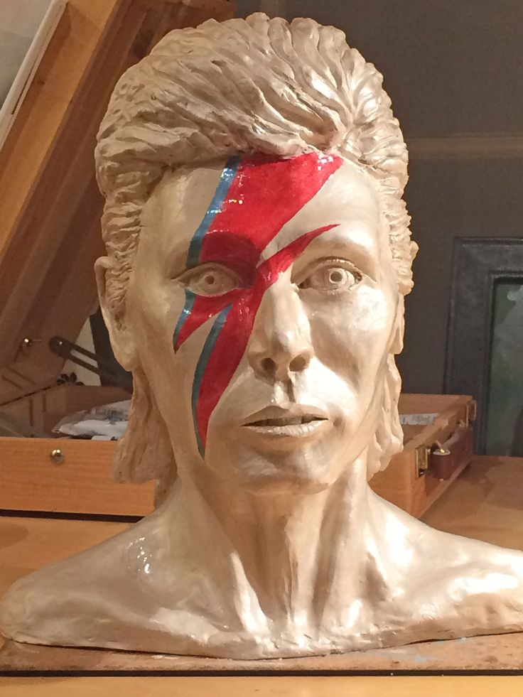 David Bowie in clay, painted in Pebeo Fantasy Prisme paint