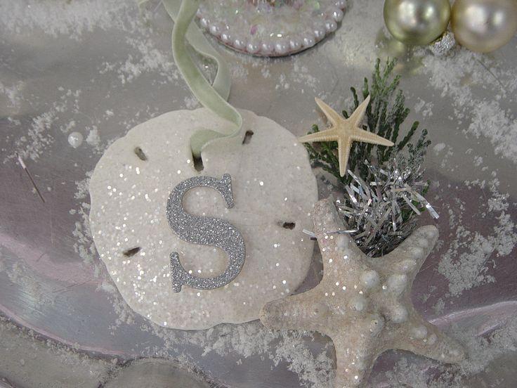 Glitter Sand Dollar Ornament - Monogram Sea Shell Christmas Tree, Beach Christmas Decoration. $12.00, via Etsy.