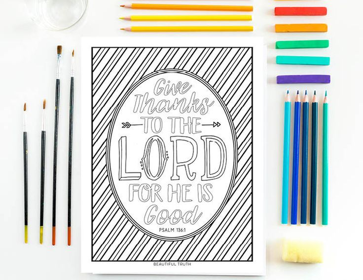 Give Thanks, Coloring Page, Psalm 136:1, Printable, Instant Digital Download, Fall Coloring, Thanksgiving, Christian Coloring Sheet by BeautifulTruthShoppe on Etsy https://www.etsy.com/listing/474522320/give-thanks-coloring-page-psalm-1361