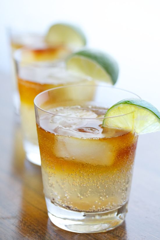 Dark and Stormy - Lime, ginger beer, dark rum, and candied ginger for extra spice!
