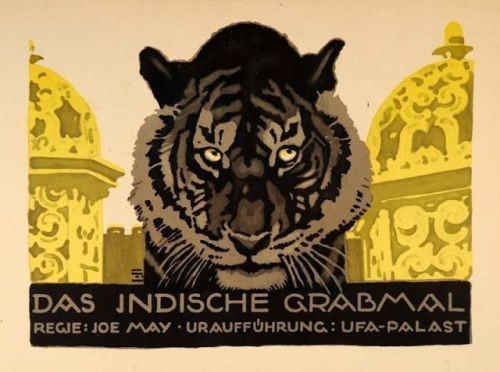 Ludwig Hohlwein, film poster for The Indian tomb | Das Indische Grabmal, 1920.