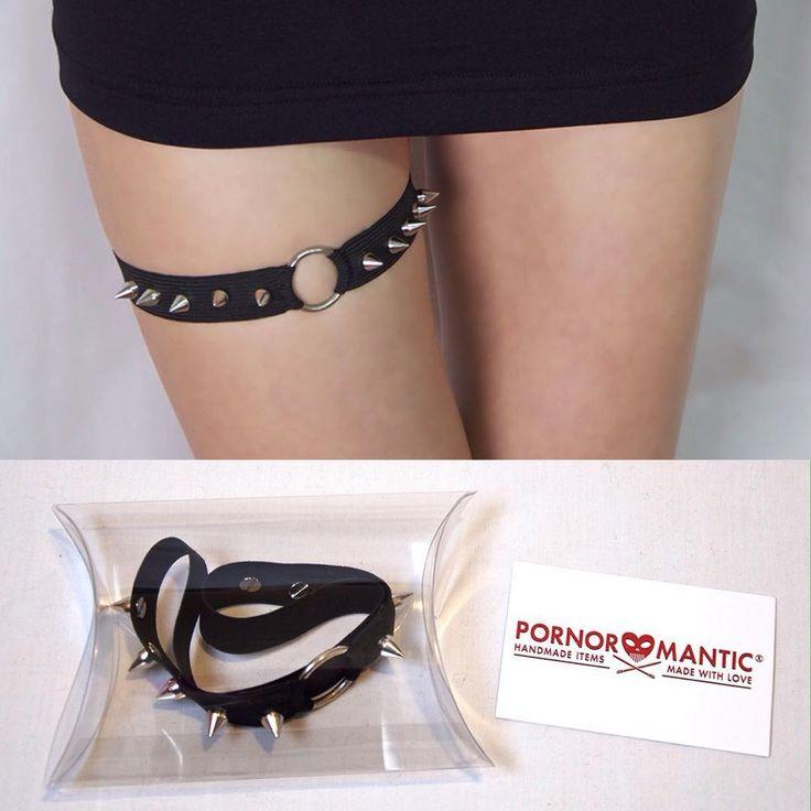 Black Elastic Studded Spikes Ring Garter by Pornoromantic www.pornoromantic.etsy.com #pornoromantic #etsy #studded #studs #spikes #garter #alternativefashion
