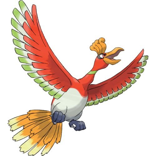 Ho-Oh Sapphire Ruby-Ho-Oh's feathers glow in seven colors depending on the angle at which they are struck by light. These feathers are said to bring happiness to the bearers. This Pokémon is said to live at the foot of a rainbow.  It is a symbol of fortune and friendship and will bestow happiness to anyone who simply glimpses it.