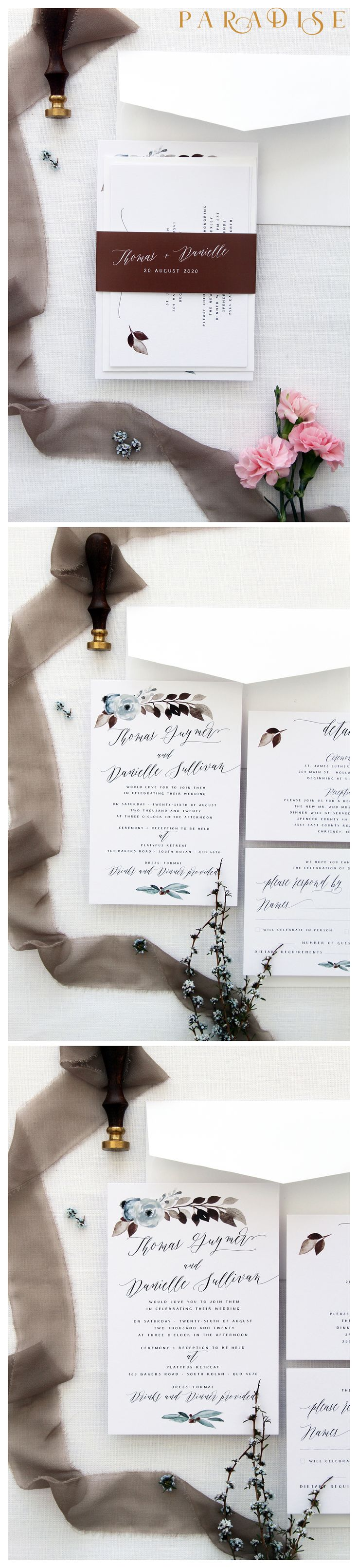 River Floral Wedding Invitation Sets Hand Painted