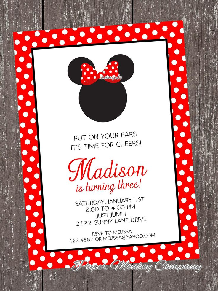 ORDERED THESE..............Minnie Mouse Birthday Invitation with FREE Matching Return Address Labels. $1.00, via Etsy.