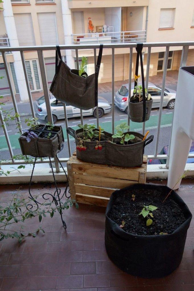un mini potager sur un balcon en ville avec des petits produits bacsac pour faire pousser. Black Bedroom Furniture Sets. Home Design Ideas