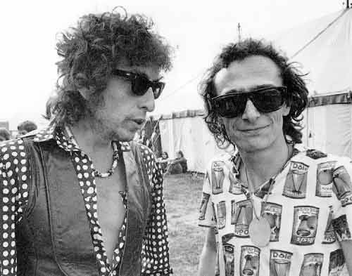 "Bob Dylan with Graham Parker. The ""Picnic"" at Blackbushe 1978. Great music, great weather, great weekend!"