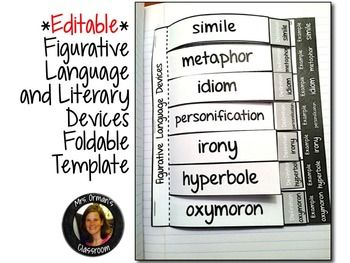 Editable Figurative Language Interactive Reading Notebook Activity Aligned with the Common Core State Standards (For upper elementary, middle and high school)