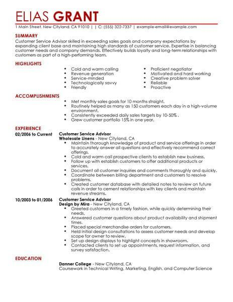 best sales customer service advisor resume example