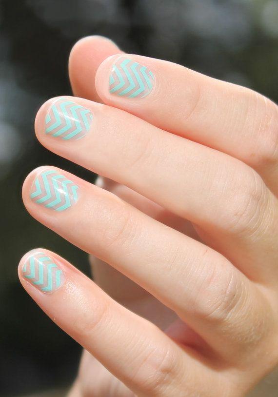 Mint Chevron Transparent Nail Wraps
