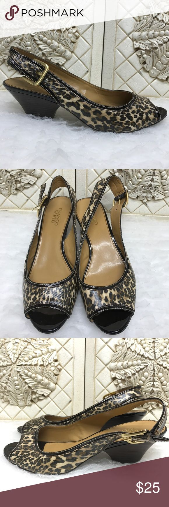 Franco Sarto | Cheetah Print Sling Back Shoes | 10 Size 10M. Man made upper. Shoes are in good however there is small peeling on the back heel of both shoes. Franco Sarto Shoes