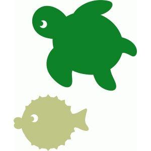 Silhouette Design Store - View Design #56229: pufferfish & sea turtle