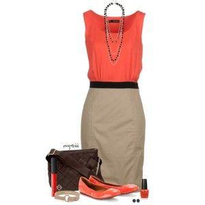 Коралловые балетки, блузка кораллового цвета, бежевая юбка, темно-коричневая сумка и аксессуары