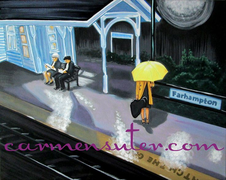 """Farhampton Train Station - How I Met Your Mother - 20"""" x 16"""" Painting - Acrylic on Canvas by Carmen Suter"""
