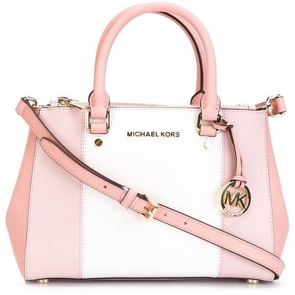 Michael Michael Kors Sutton Tote (£240) ❤ liked on Polyvore featuring bags, handbags, tote bags, purses, borse, sacs, pink leather tote, pink handbags, leather tote and genuine leather handbags