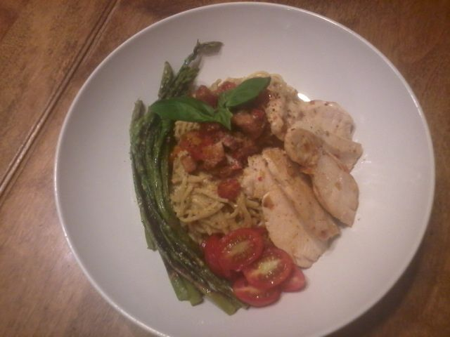 Pasta with Chicken, Proscuitto tomatoes, peppres onions, Pesto, asparagus <3