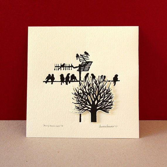 Linoleum block print leaves less tree birds on wire by CassaStudio                                                                                                                                                      More