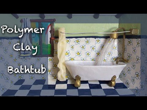 Miniature tutorial - Polymer clay Bathroom roombox Part 1 of 4 - THE ROOM - YouTube