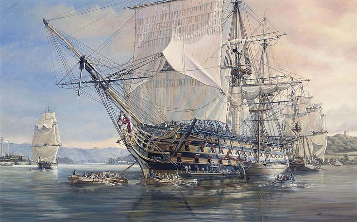 HMS Royal Sovereign en Plymouth. La mejor colección de láminas militares en http://www.elgrancapitan.org/foro/