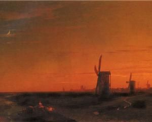 Landscape With Windmills - Ivan Aivazovsky
