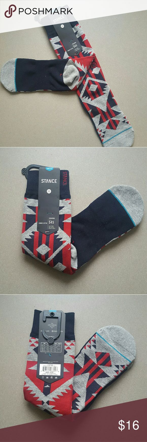 Stance Tribal Print Socks - L NWT Stance Tribal print socks. Dark blue with red and gray accents, and a reinforced heel and toe.    #StanceSocks #stance #aztec #socks Stance Underwear & Socks Casual Socks