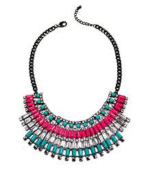 gunmetal chain featuring a dramatic hot pink, turquoise, and crystal bib