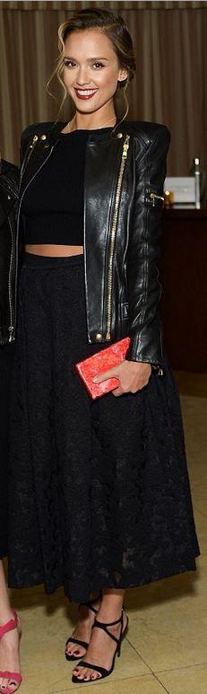 Jessica Alba, leather jacket
