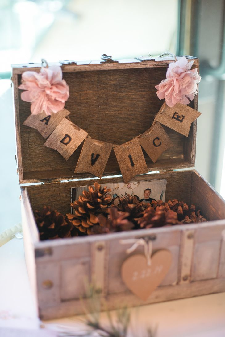 Pinecone Rustic Wooden Advice Box | Blair Nicole Photography https://www.theknot.com/marketplace/blair-nicole-photography-la-habra-ca-605227