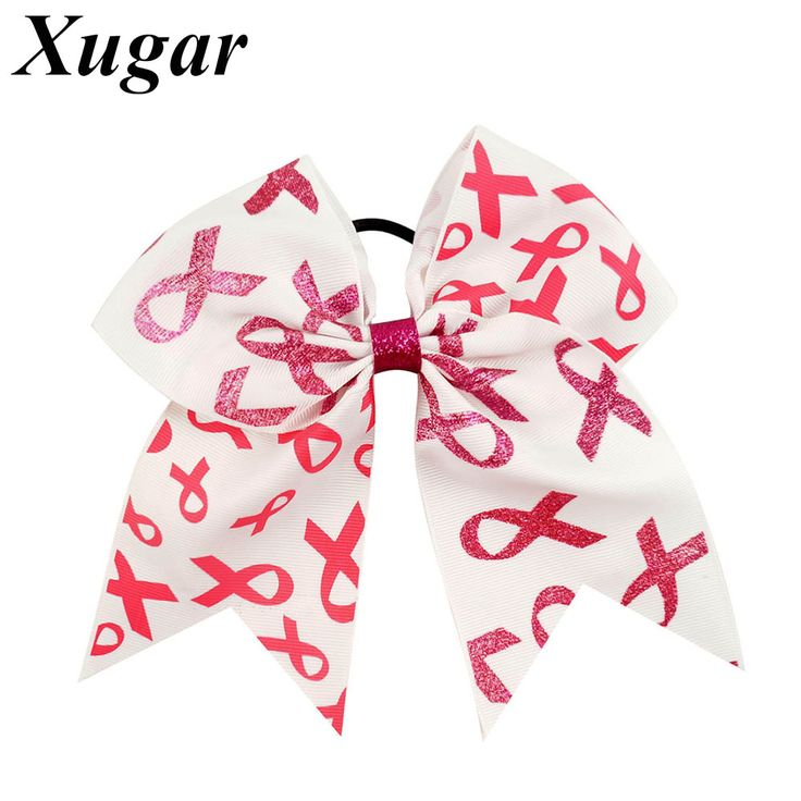 2 Pcs 7'' Big Boutique Grosgrain Ribbon Breast Cancer Printed Cheer Bow With Elastic Bands For Cheerleaders Girls #Affiliate