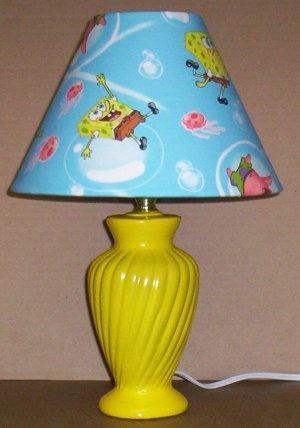 SPONGEBOB LAMP AND SHADE FABRIC lampshade & YELLOW LAMP BUBBLES