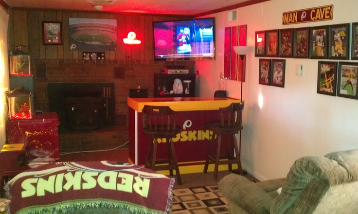 Man Cave Espn : Logo on bar home redskins football man cave room