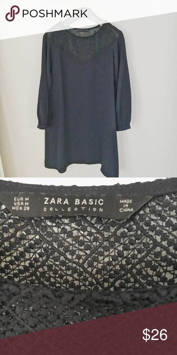 Zara Basics Collection Navy Shift Dress Zara Basics long sleeve shirt dress Navy  Size Medium  Black crochet accent on collar / trim  ✔️no trades ✔️bundle for private offers  ✔️or make offer Zara Dresses Long Sleeve