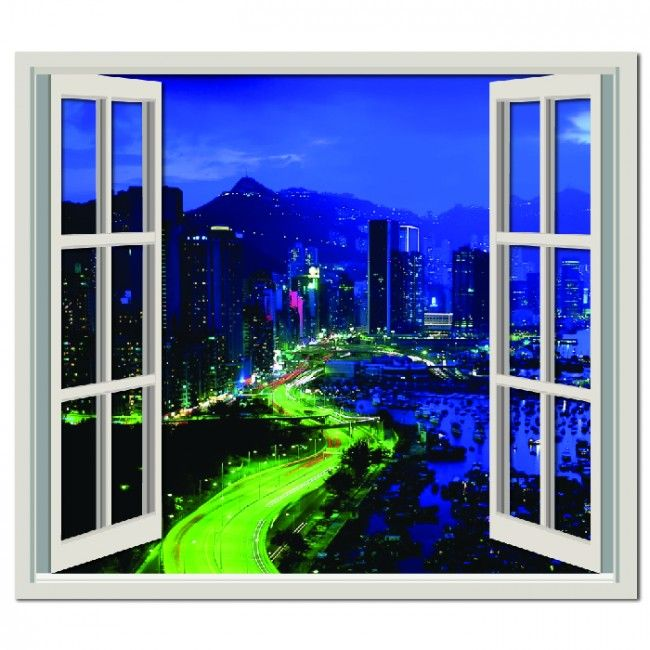 Night time city wall sticker window wall decal