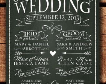 Chalkboard Wedding Program Sign Printable Decor