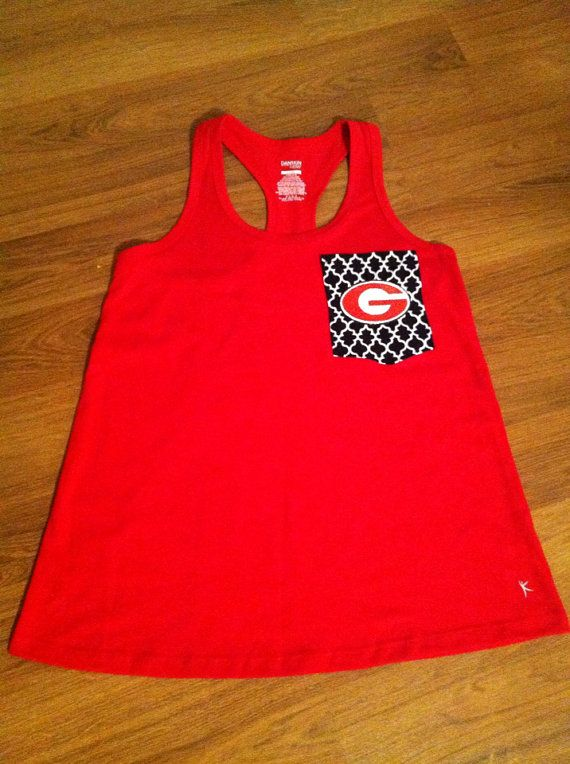 Georgia Bulldogs Monogrammed Razorback tank top by ElsBriarPatch, $18.00 ... Could totally make a Husker one!!