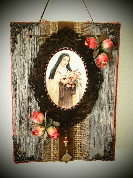 Rustic shrine to St. Therese of Lisieux features gorgeous vintage holy card and medal, with pretty coral vintage velvet, flowers, and crystal bead as accents