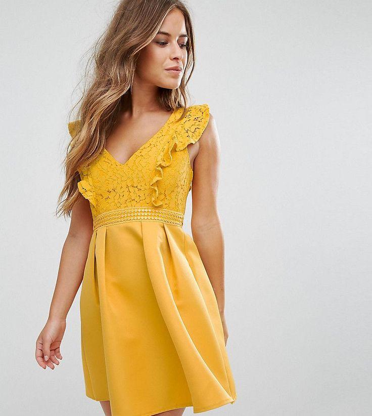 Little Mistress Petite Frill Lace Top Mini Prom Dress - Yellow